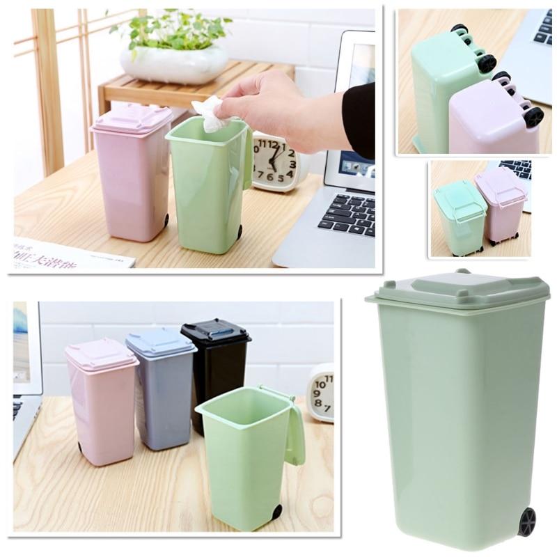 Mini Wheelie Trash Can Pen Holder Storage Bin Desktop Organizer Garbage Bucket Recycling Mini Organizador Escritorio Tool