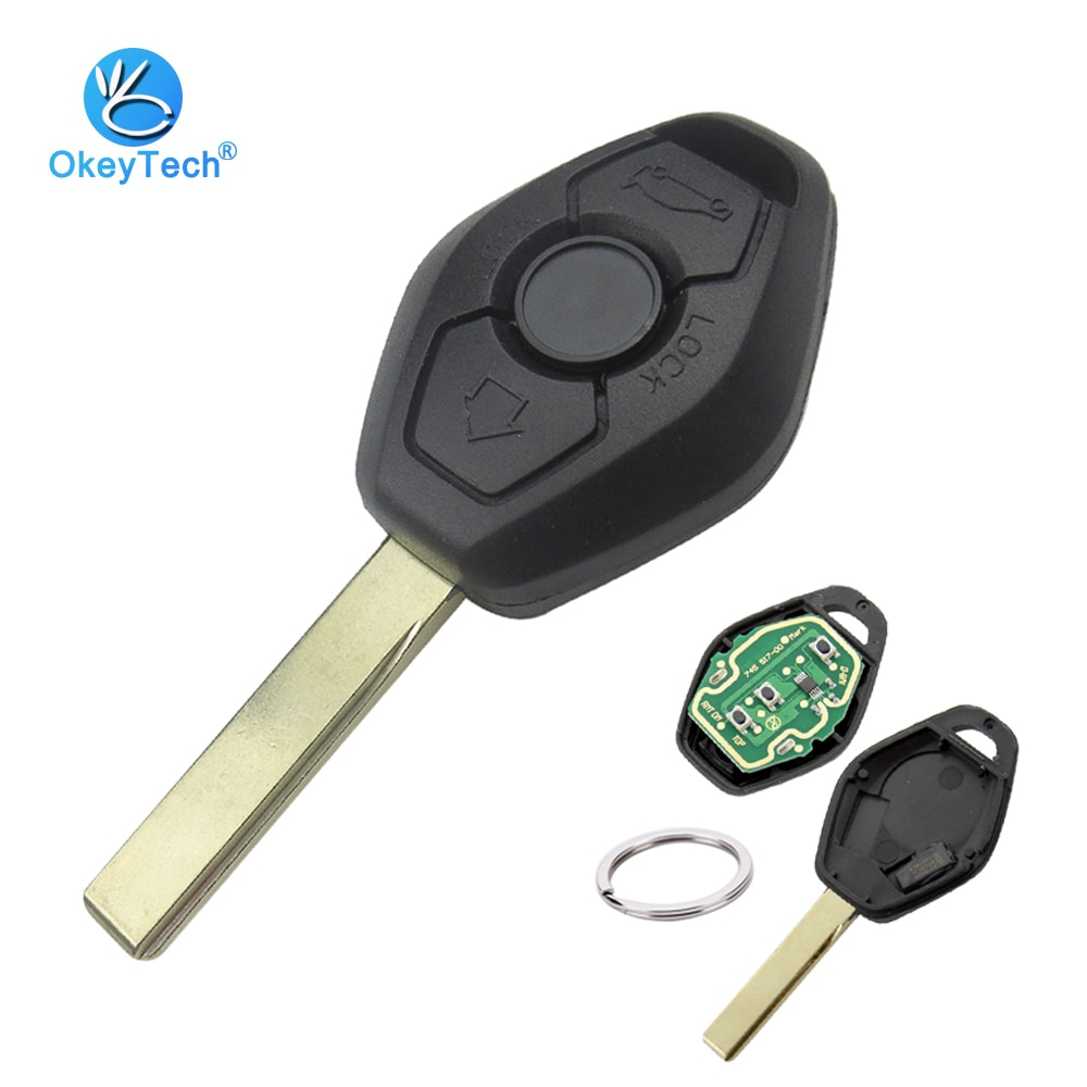OkeyTech para BMW E46 E90 E60 E39 E36 X5 E70 Control remoto a coche llavero con anilla EWS 315/433Mhz ID44 PCF7935 Chip HU92 hoja