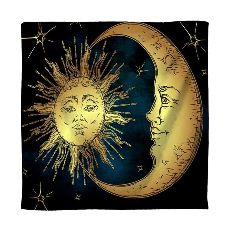 Tapiz psicodélico de Moon Sun con muchas caras fractales energía Celestial Arte Místico pared colgante para el dormitorio