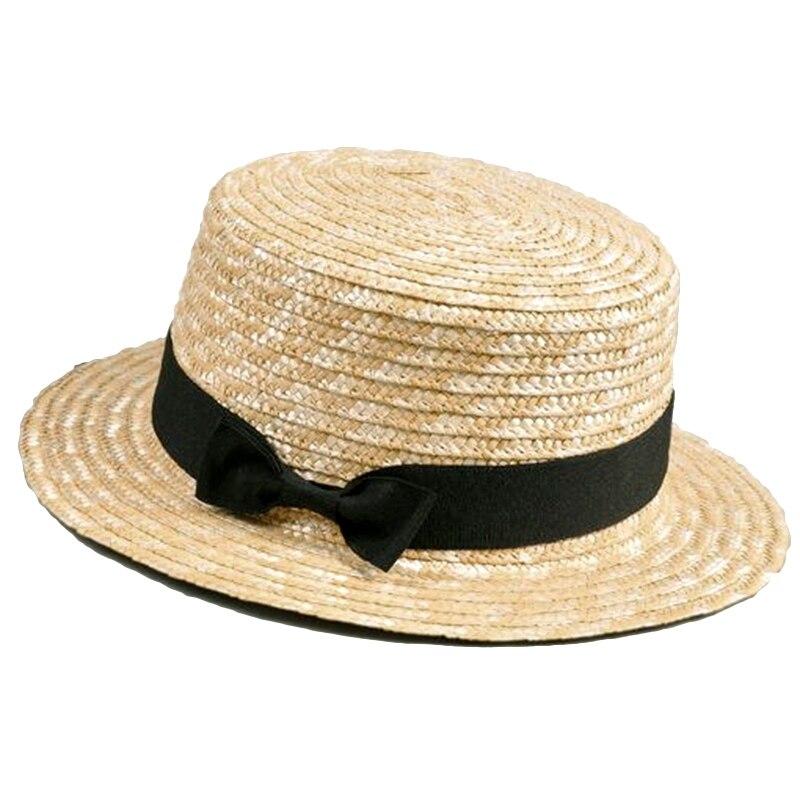 Cute Child Girls Straw Hat Bowknot Sun Hat Kids Large Brim Beach Summer Boater Beach Ribbon Round Flat Top Fedora Hat