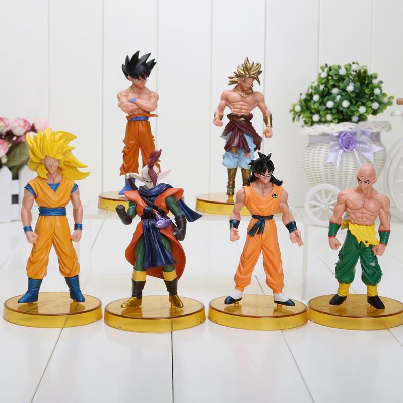 6pcs/set Anime Cartoon Dragon Ball Z Character Goku Gohan Broly Zamasu PVC Action Figure Collection Toys Dolls 12cm