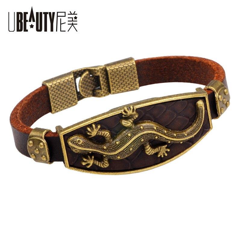 Ubeauty retro animal liga lagarto couro charme pulseira & pulseiras liga gancho masculino pulseiras para mulheres moda jóias pulseira