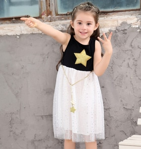 Stars Mesh Sleeveless Cute Sweet Baby Girls Dresses Summer Casual Kids dress Children's Clothing