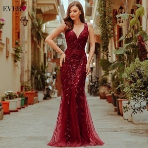 Burgundy Evening Dresses For Women Party Ever Pretty EP07886 Elegant V-Neck Mermaid Sequin Wedding Formal Gown Abendkleider 2021