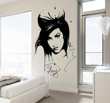 Amy Winehouse Wall Decal Sticker Beauty Hair Salon  Vinyl Interior Home Decor Mural Removable Living Room Decor Sticker YO-133