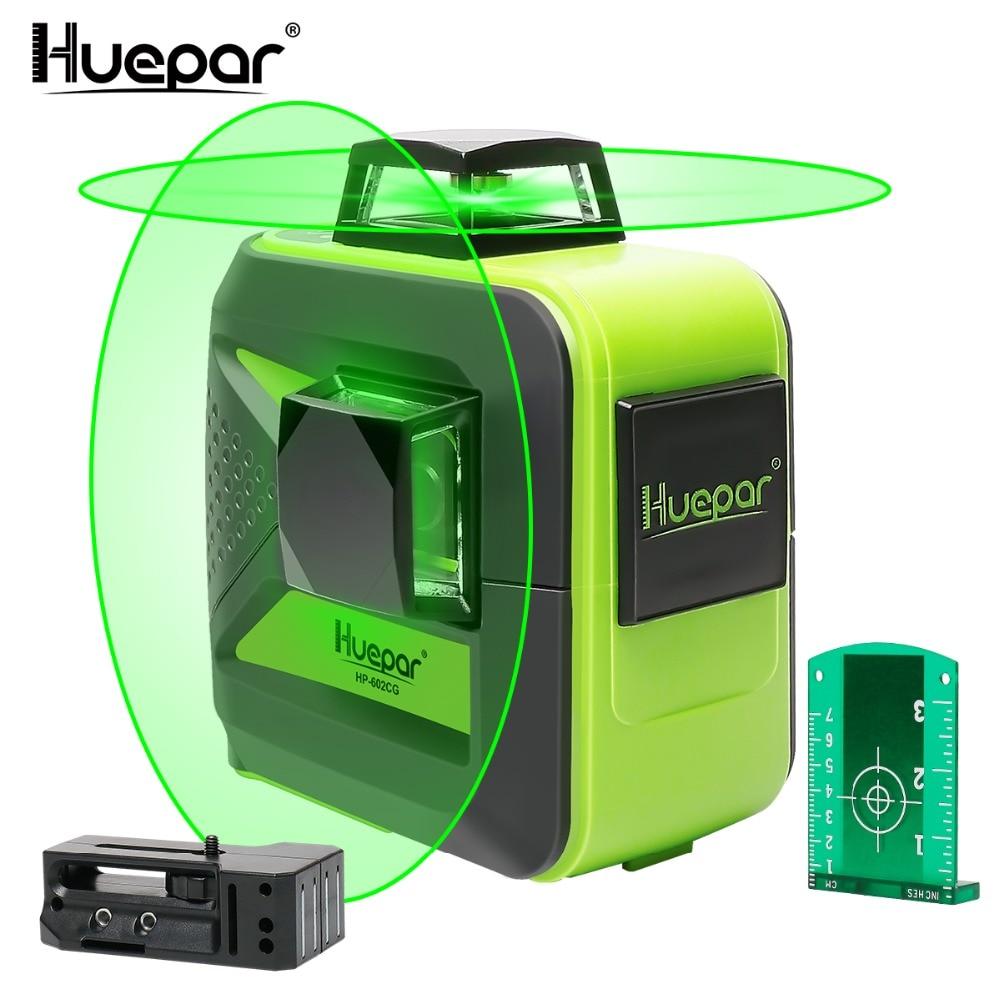 Huepar 8 Lines Green Beam 3D Cross Line Laser Level Self-Leveling 360 Vertical & Horizontal USB Charge Use Dry & Li-ion Battery