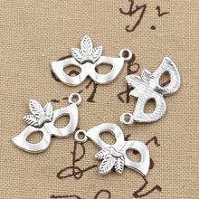 25 pièces breloques masque de fête mascarade Mardi Gras 24x15mmAntique Bronze couleur argent pendentifs faisant bricolage à la main bijoux tibétains