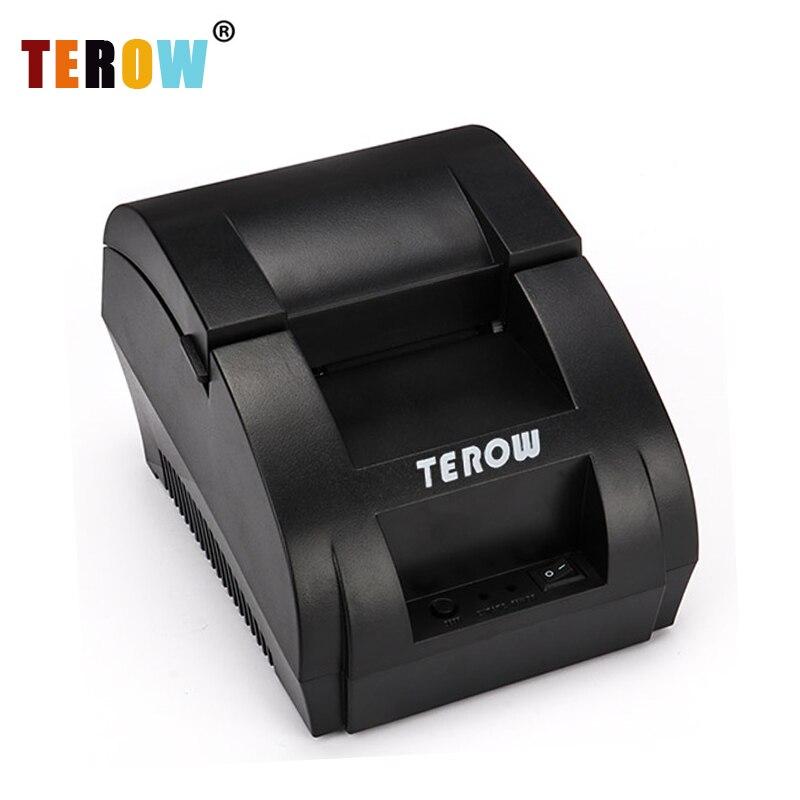 TEROW 5890K portátil Mini 58mm POS impresora térmica de recibos con puerto USB para comercio minorista sistemas POS enchufe de la UE