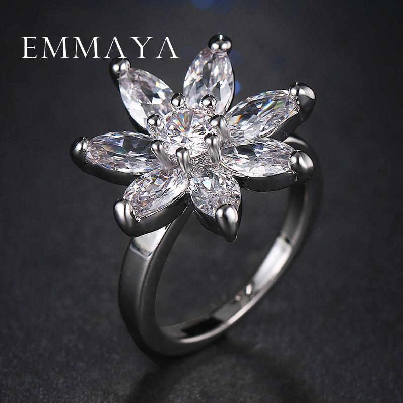 Emmaya Atacado Anel de Flor Anel Anéis Para Mulheres Com Cristal Austríaco Stellux AAA Zircon Jóias