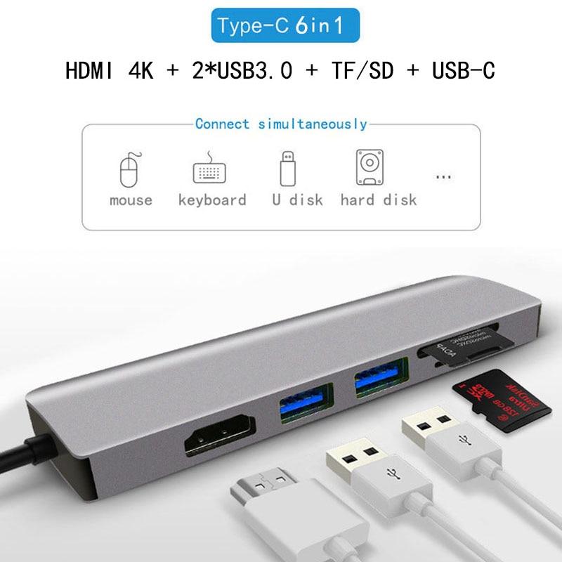 USB-C portátil Docking Station USB 3,0 HDMI SD TF USB Hub Fealuyshon para Macbook Pro HP DELL superficie Lenovo Samsung estación Dock