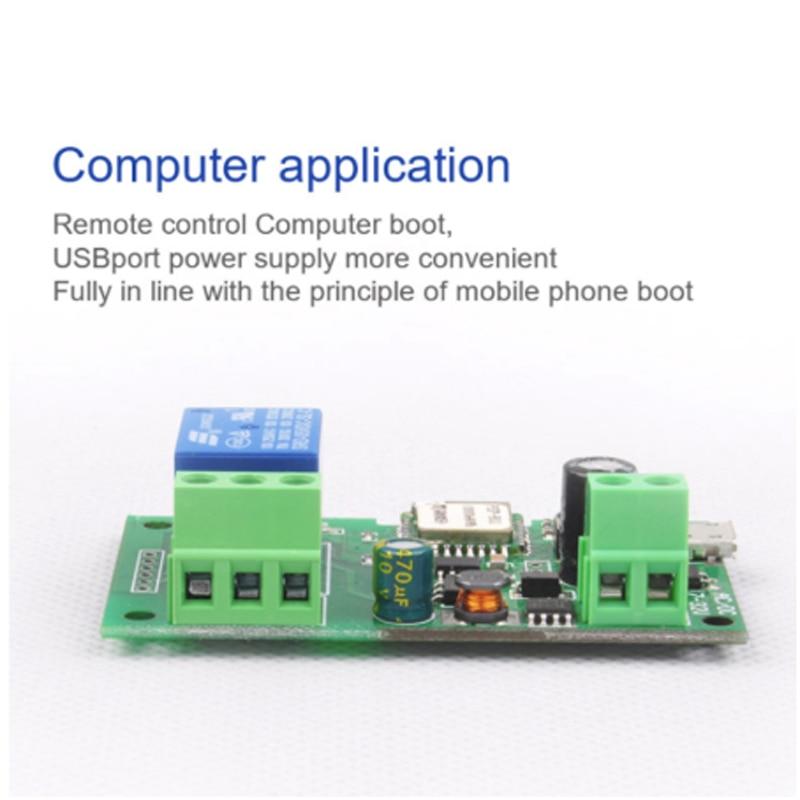 Módulo de interruptor wifi sonoff de 12V cc 12V interruptor de relé inalámbrico de bloqueo automático inteligente de domótica para acceso a la computadora