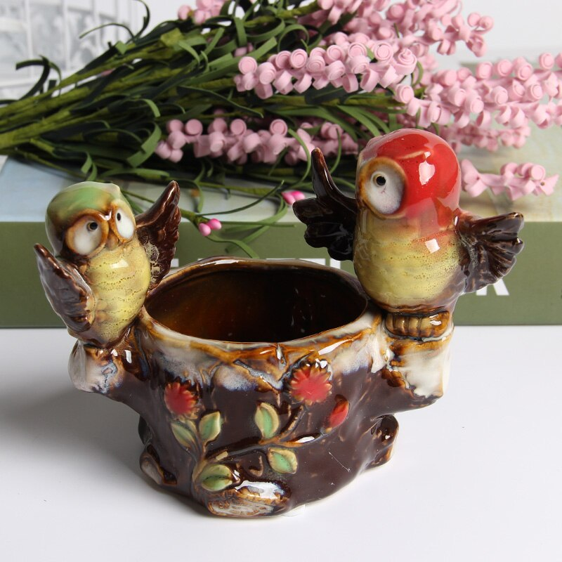 Figuras creativas artificiales de búho, decoración de cerámica para boda, hogar, decoración artesanal, bonitas manualidades de pájaros, escritorio, dulce regalo de fiesta