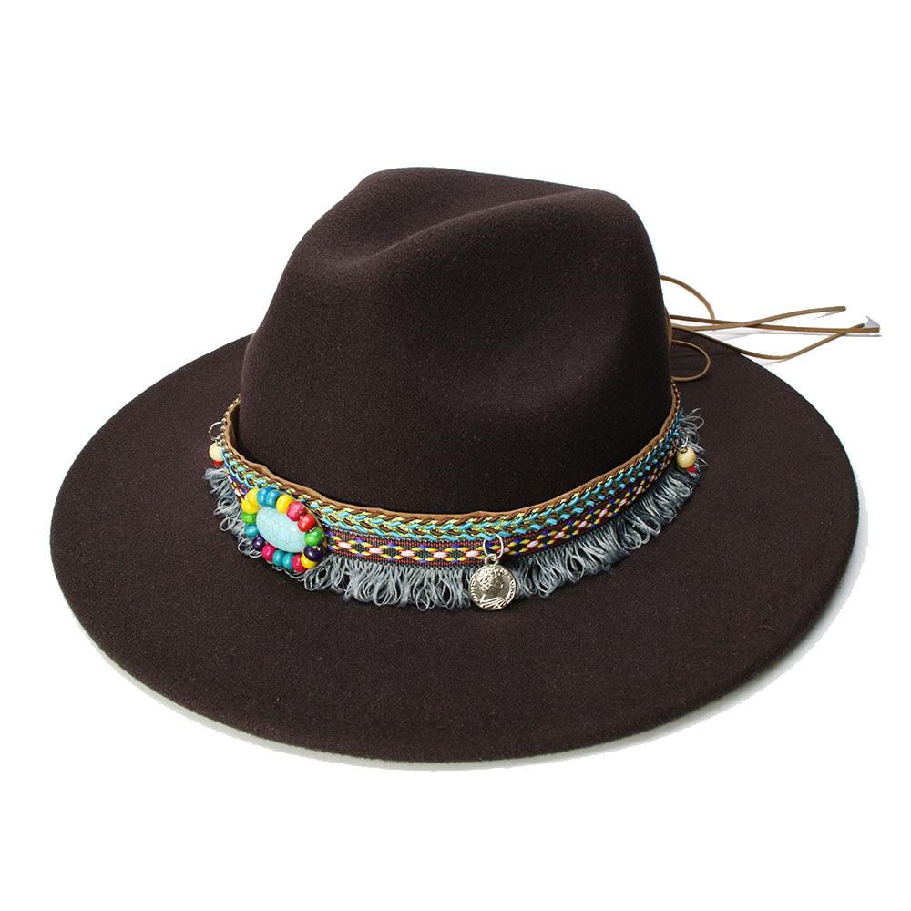LUCKYLIANJI Retro Kid Child Vintage 100% Wool Wide Brim Cap Fedora Panama Jazz Bowler Hat Tassel Turquoise Band (54cm/Adjusted)