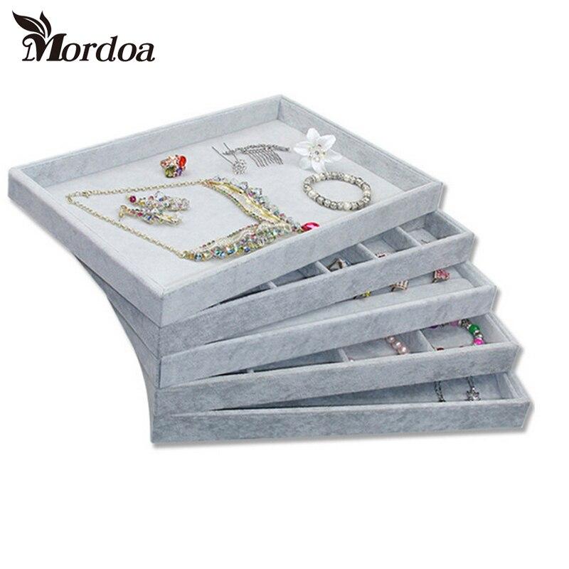 Venda quente cinza anel de veludo pulseira colar relógio pingente wek-jin parafuso prisioneiro brinco mão catenária bandeja de jóias placa vitrine exibição