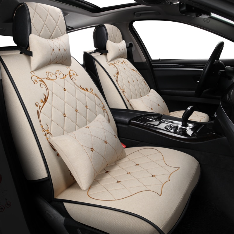 Funda de asiento de lino ZHOUSHENGLEE, fundas universales para asiento de coche para vehículos mazda 3 6 toyota RAV4 Hyundai volvo ford