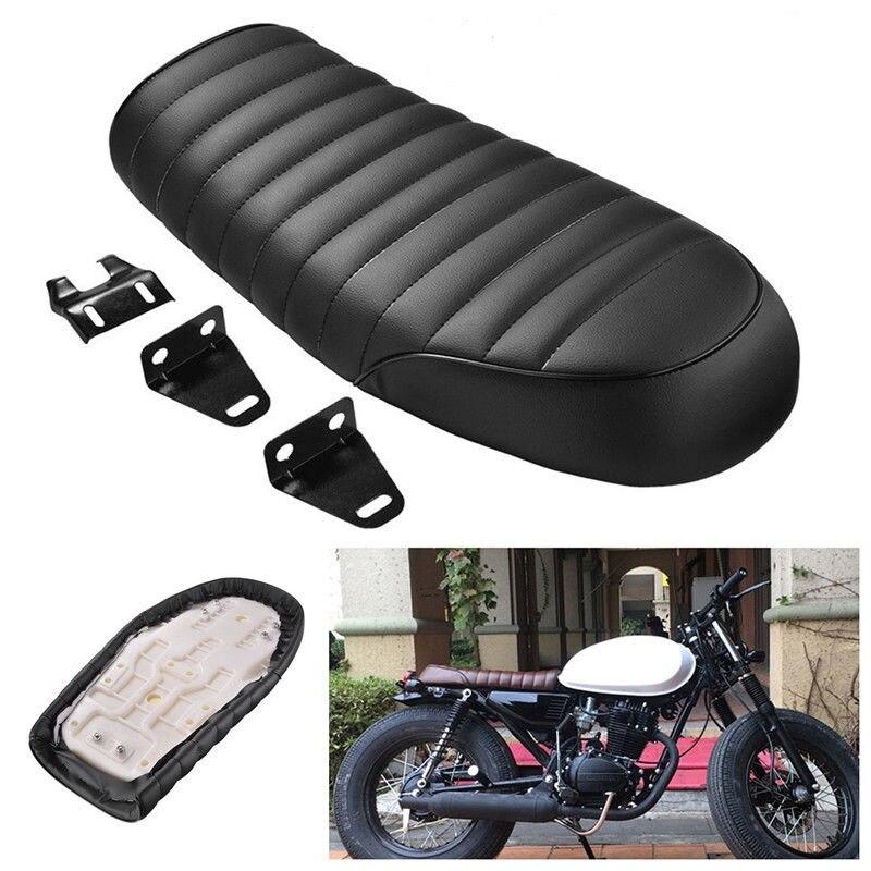 مقعد دراجة نارية أسود ريترو ، مقعد مسطح عتيق لمقعد café Racer ، سرج Scramble GN CB350 CB400 CB500 CB750 SR400 XJ XS KZ