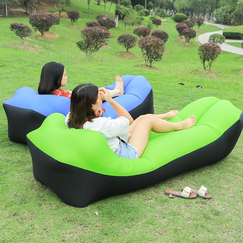2020 Drop shipping Lazy bag Fast Inflatable Sofa bag Sleeping Air Bag Portable lazy sofa Bed Square Air Sofa Beach bag bed chair