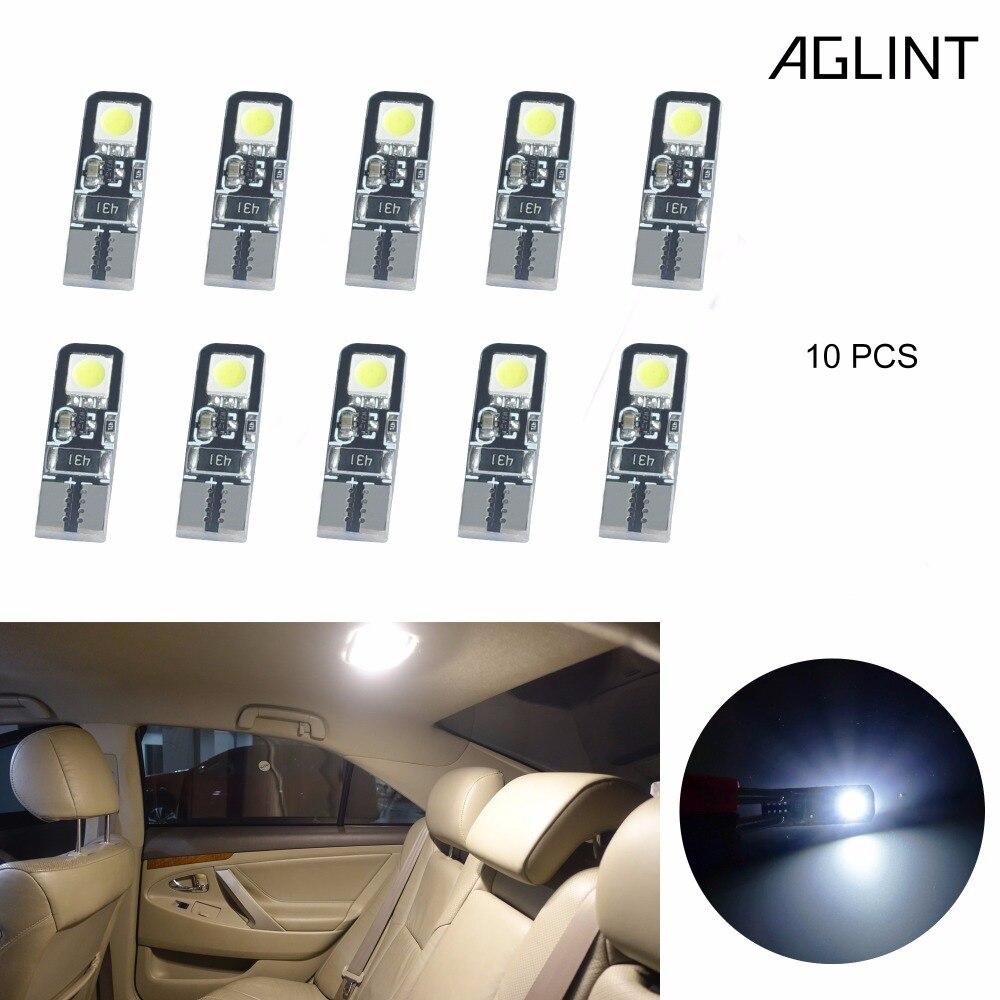Aglint 10 pçs t10 w5w lâmpadas led 168 194 501 2825 5050 smd canbus para interior cúpula leitura tronco luz xenon branco 6000k 12v