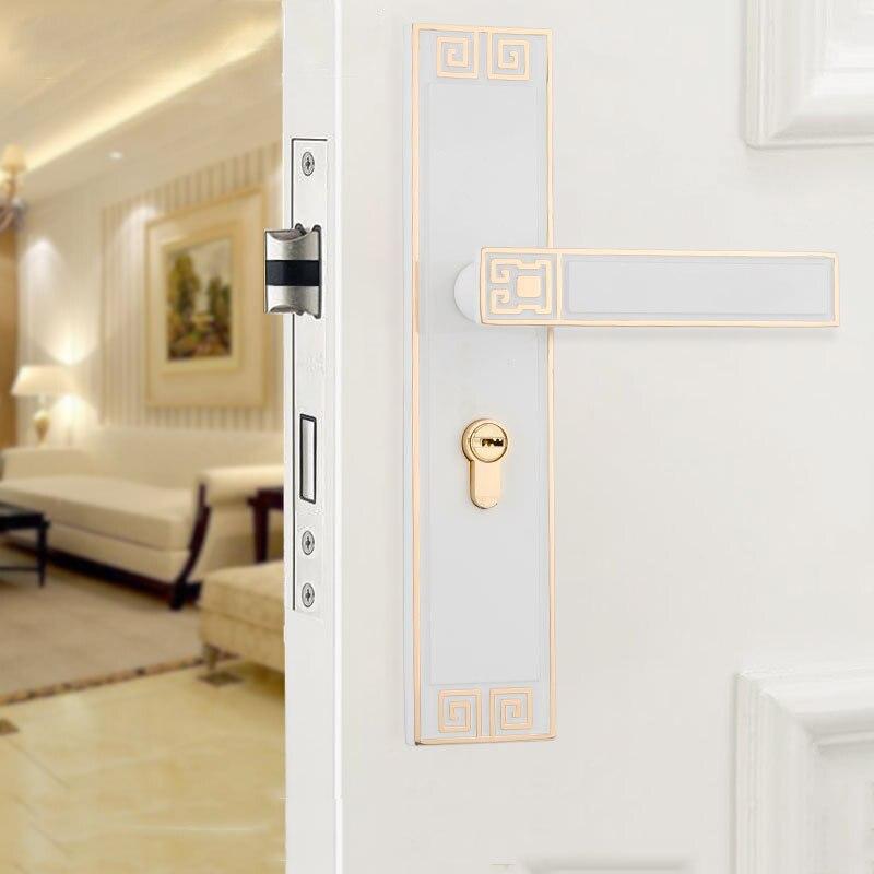 1 مجموعة الحديثة الباب قفل النمط الأوروبي الرجعية غرفة نوم باب مقبض الداخلية قفل مكافحة سرقة غرفة باب السلامة قفل