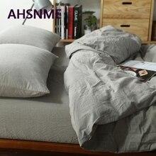 AHSNME 100% ropa de cama de algodón ropa de cama súper suave funda de edredón gris claro sólido funda de edredón color caqui lavado ropa de cama