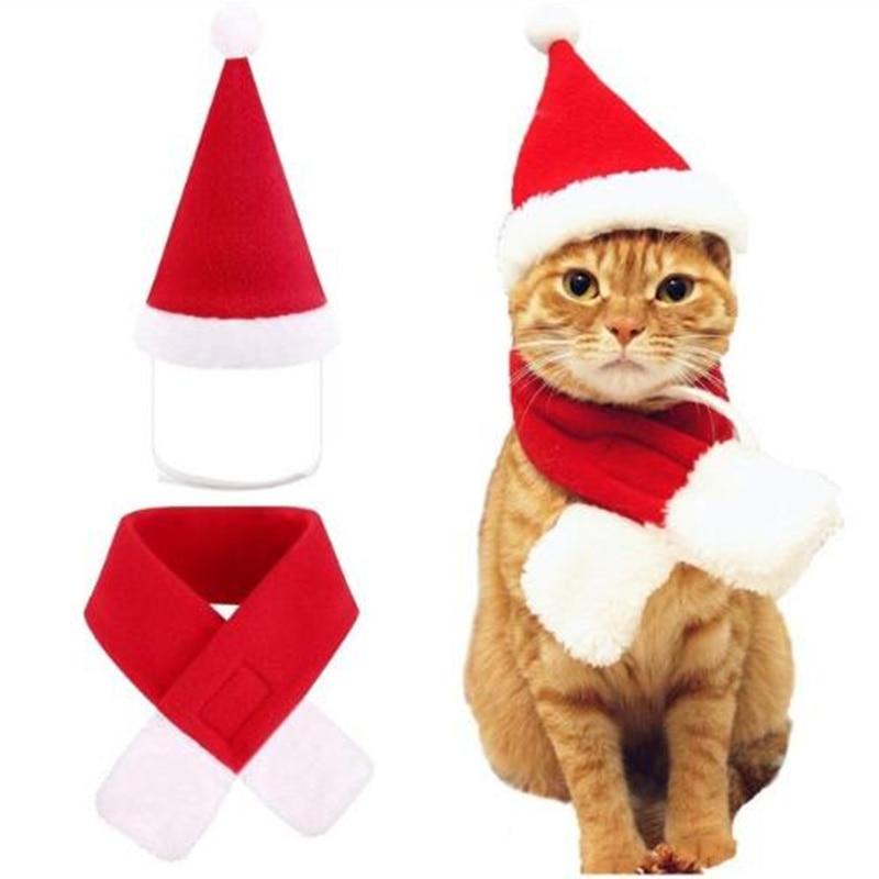 Кепки для собак и кошек головной убор домашних питомцев С Санта Клаусом галстук