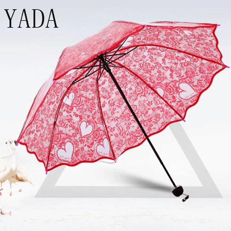Vermelho da Flor da Noiva do Guarda-chuva da Chuva Guarda-chuva de Proteção Ambiental para as Mulheres Chuvas à Prova de Vento Yada Transparente Mulheres Pvc Ys239