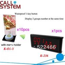 Système dappel sans fil K-236 + O1-Y + H pour restaurant avec bouton 1 touche avec support de cartes de menu et affichage DHL livraison gratuite