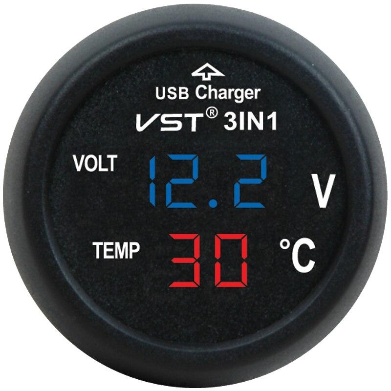 Voltímetro USB 3 en 1 para cargador de coche, voltímetro, medidor de voltaje, medidor de temperatura actual, Monitor Digital, Monitor portátil, probador de voltaje de coche