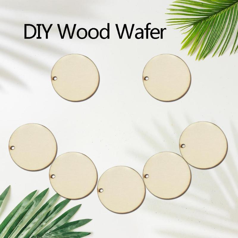 50 Uds DIY, Rodajas de madera, ornamento redondo para pintar, manualidades DIY, rodajas de madera, decoración de boda Natural redonda en blanco