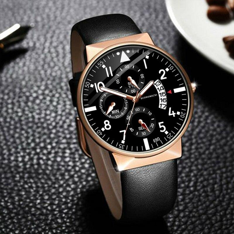 Homens luminosos Relógio Ocasional Projeto de Negócio Marca de Relógios Pulseira de Couro de Quartzo Presente Moderno relógio de Pulso Relogio masculino