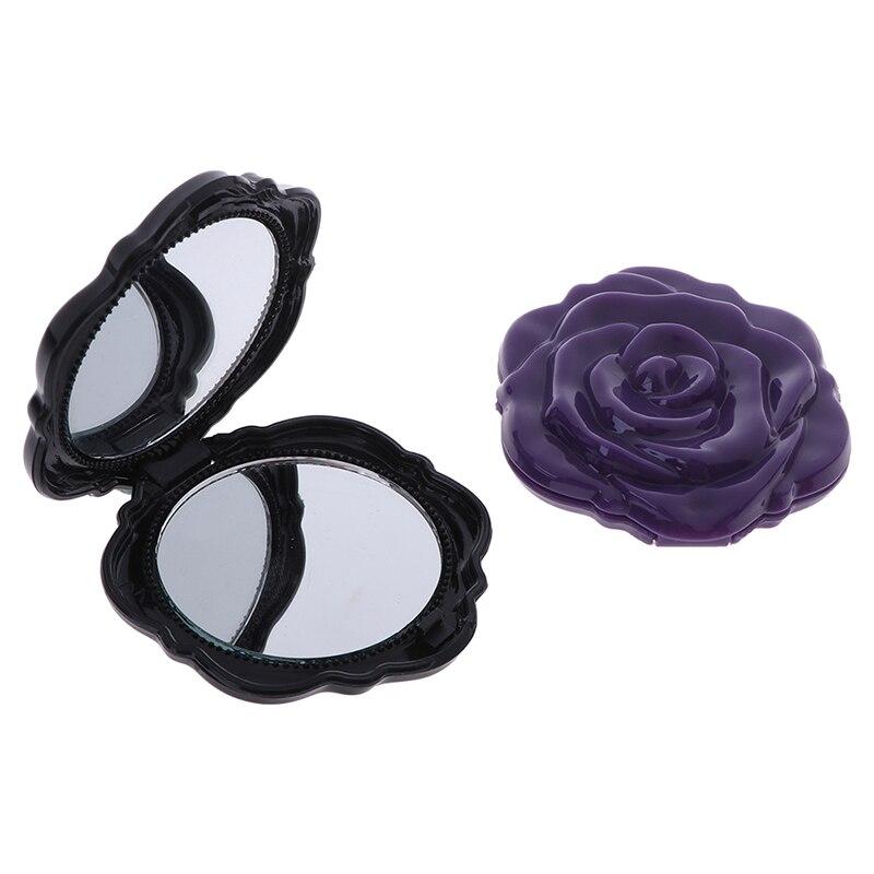 Dupla face maquiagem espelho mini rosa flor maquiagem espelho compacto portátil meninas bolso espelho presente original