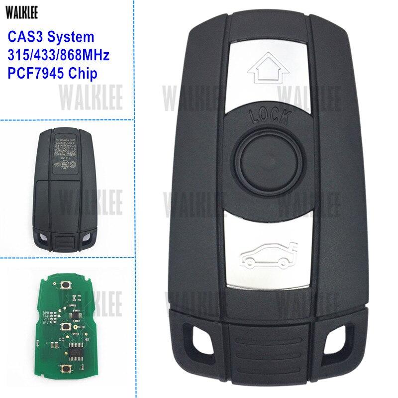 Llave Inteligente remota WALKLEE para BMW CAS3 System 1/3/5/7 Series X5 X6 Z4 315LP 315MHz 433MHz 868MHz Chip opcional PCF7945