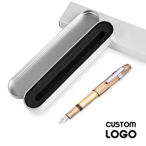 1pc Retro Literary Metal Brass Pens Antique Copper Pen New Business Gift Custom LOGO Pen Student Stationery Offices With Pen Box