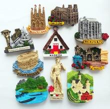 European World Tourism Souvenirs Laos France Germany Italy Resin Refrigerator Fridge 3D Magnet Sticker Travel Decoration