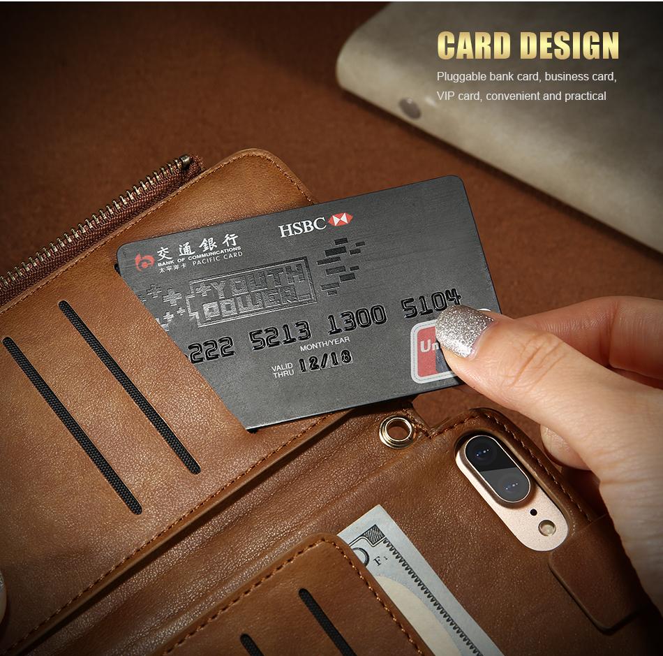 Floveme vintage wallet case dla iphone 6 6 s 7 plus skórzanej oprawie zipper torebka posiadacza karty retro przypadki telefonów dla iphone 6 6 s 7 6