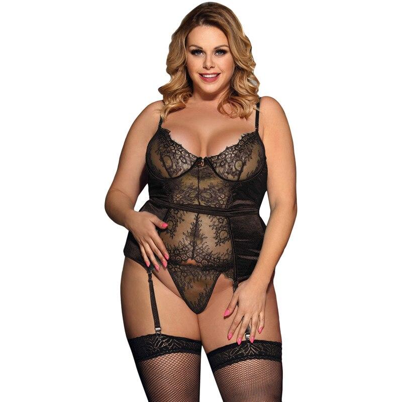 Ropa exótica para mujer, picardías sexy en color negro y verde de talla grande, artículos íntimos de encaje, lencería erótica para mujer RW80535