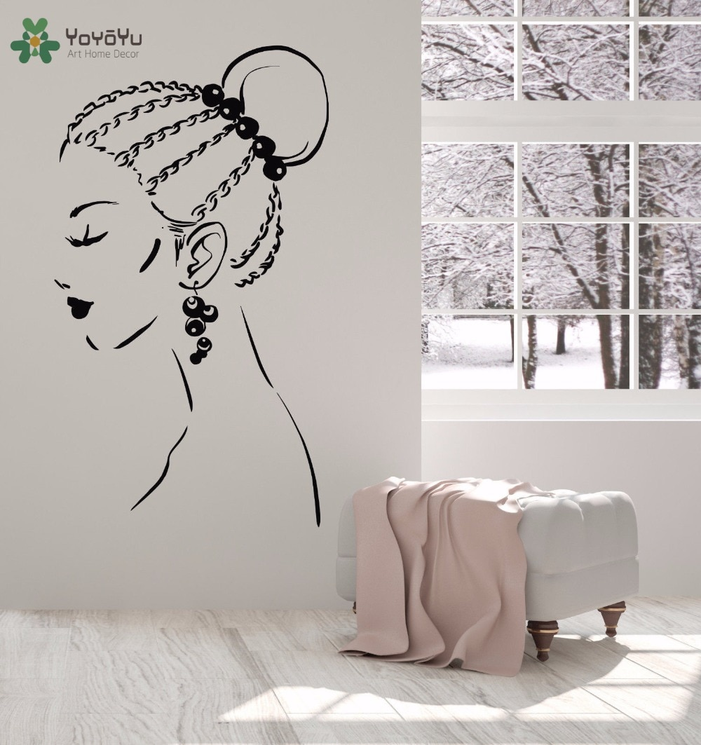 Calcomanía de pared yoyoyu para chicas, salón de belleza, vinilo, adhesivo para pared, estilo moderno para mujer, arte, Mural, pendiente, patrón, decoración de dormitorio DesignSY868