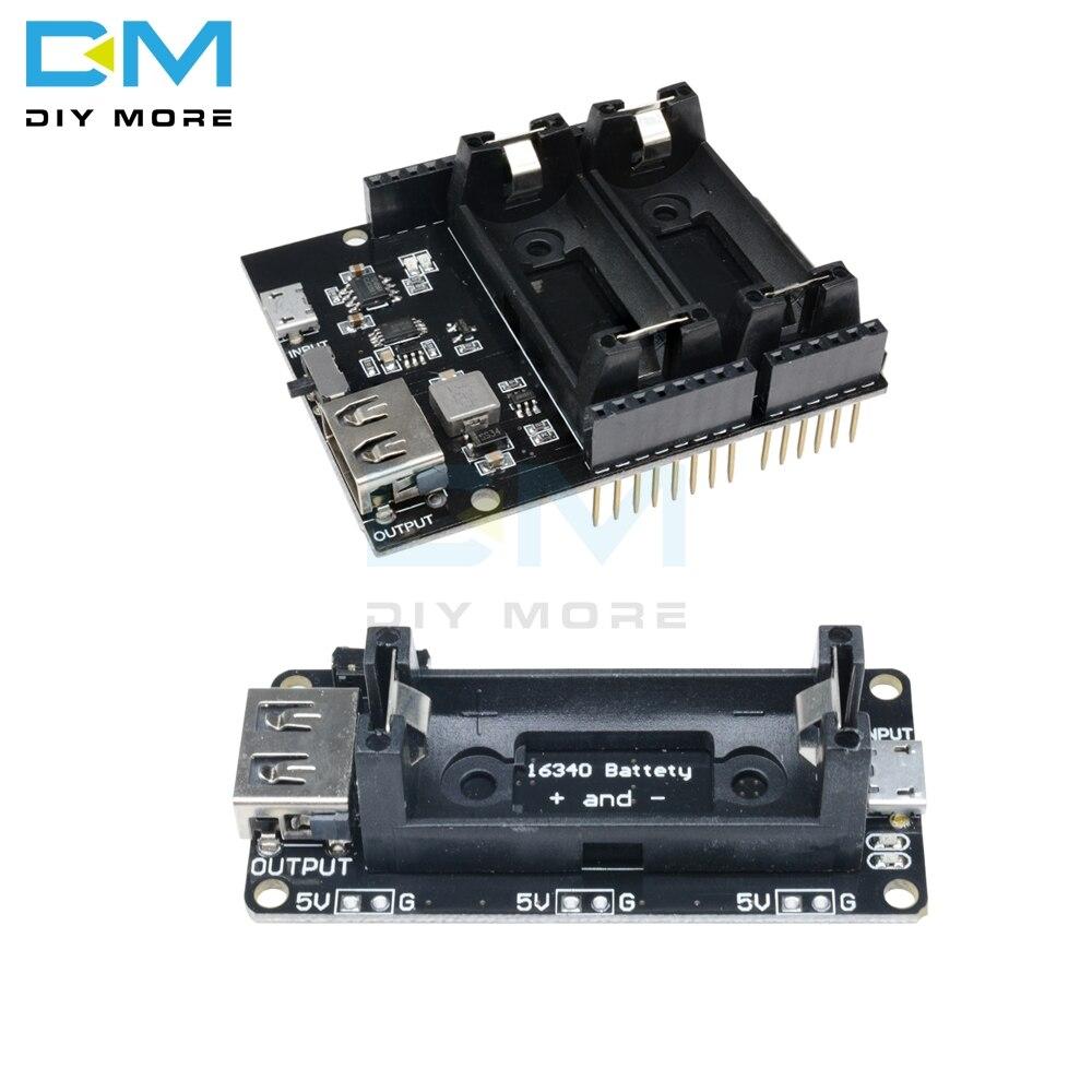 ESP8266 ESP32 Dual 16340 Lithium Batterij Module Usb Mobiele Power Bank Batterij Houder Charger Board Module Voor Arduino Uno R3