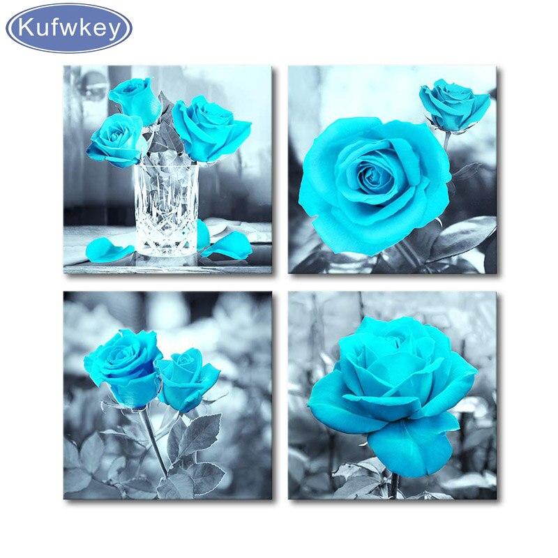 Kits de pintura Diamante DIY ponto cruz Preto e Branco Teal Pintura de Flores Rosa, decoração da parede 4 peças conjunto Diamante Bordado