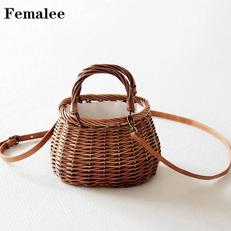 Cintas con lazo FEMALEE, bolsos de mimbre con asa superior, cordón, bolso de hombro con correa de cuero natural Rural, bolsos de mimbre tejidos casuales hechos a mano