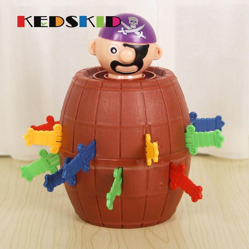 Juguete divertido extraño tío apuñalar pirata cubo juguete barril macho pirata chistes juegos espada barril Juguetes De crisis fiesta caliente juego