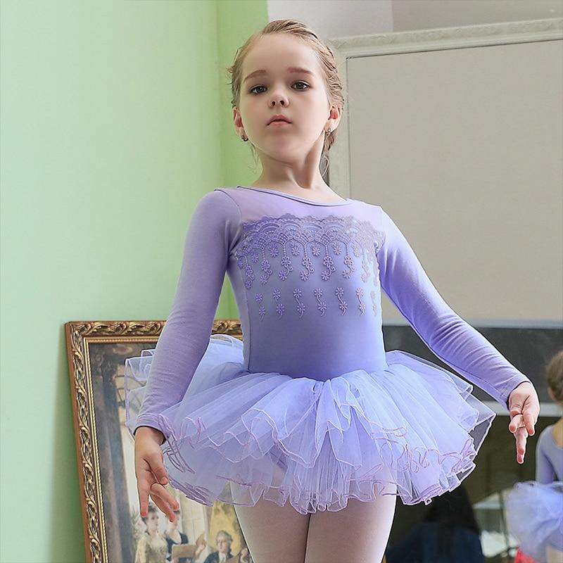 Girls ballet dress long sleeve ballet costumes 4 layers tutu ballet dress for kids ballet tutu child