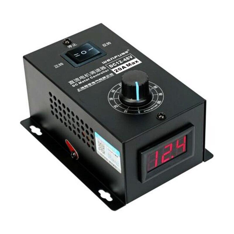 Regulador ajustável 12 v 24 v 48 v reversível do controlador de velocidade pwm do motor da c.c. 12-48 v 20a da indicação digital 0 adjustable 100%