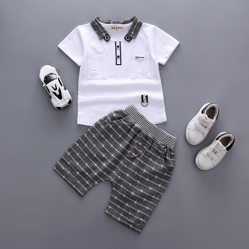 Boys Clothing Children Summer Clothes 2pcs striped patchwork fashion Cotton Kids Boy toddler Clothing Set T-shit Shorts 1-5T