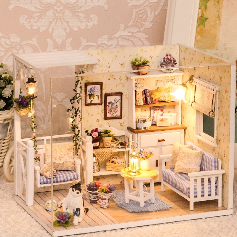 Doll House Furniture Diy Miniature 3D Wooden Miniaturas Dollhouse Toys for Children Birthday Gifts C
