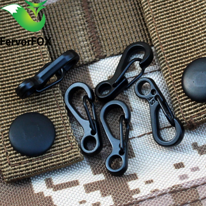 10PCS Mini SF Spring Backpack Clasps Climbing Carabiners EDC Keychain Camping Bottle Hooks Paracord