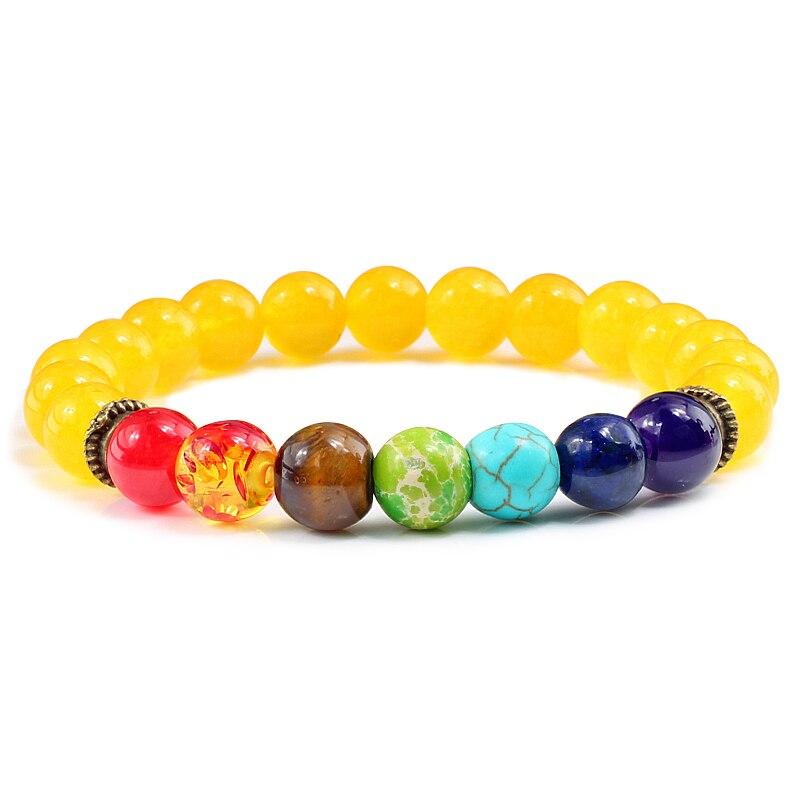 Mode 7 Chakras jaune calcédoine Bracelets perles naturelles polychromatique Jades extensible corde chaîne hommes Bracelets brassard Heren 8MM