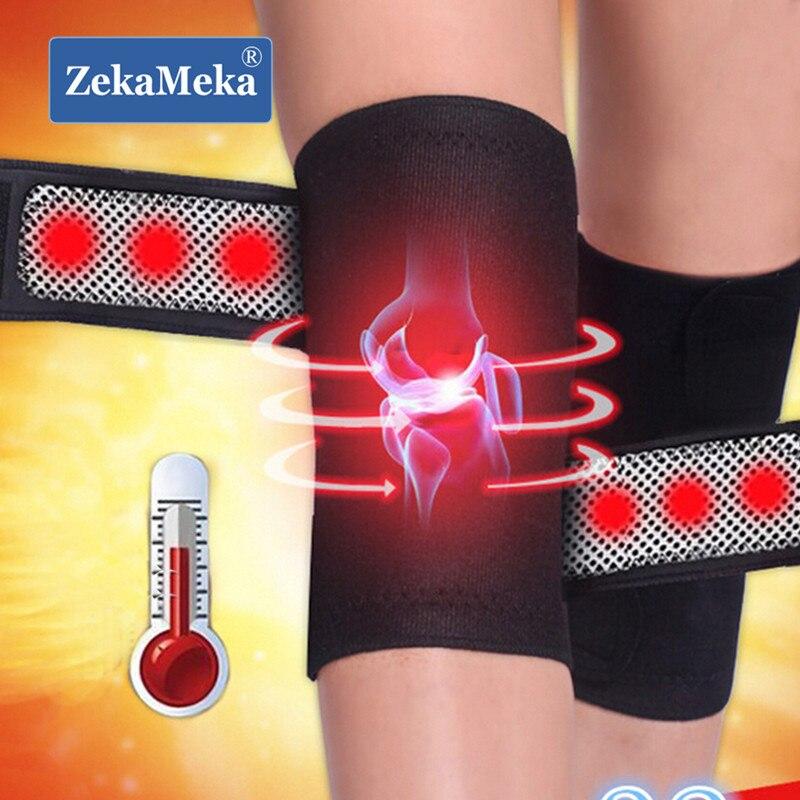 ZekaMeka 1 par de soportes magnéticos masajeador terapia de rodilla banda de cinturón de calefacción espontanea rodilleras