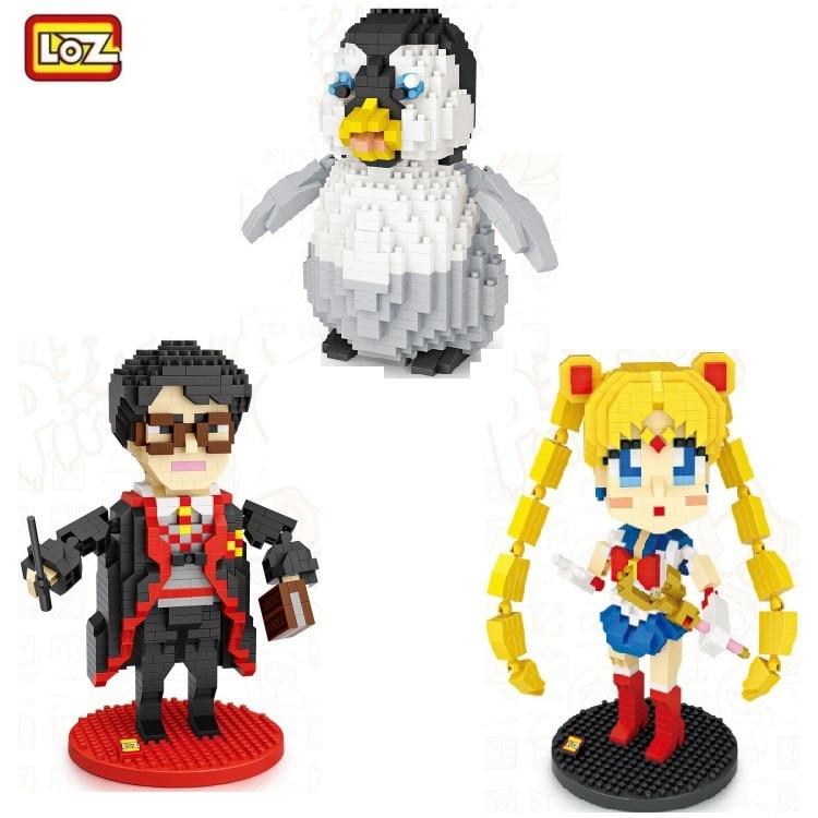 Лоз мини-блоки, Мультяшные Строительные кирпичи для детей, игрушки из фильма Гарри маленький аниме Сейлор Мун, модель, детские развивающие подарки