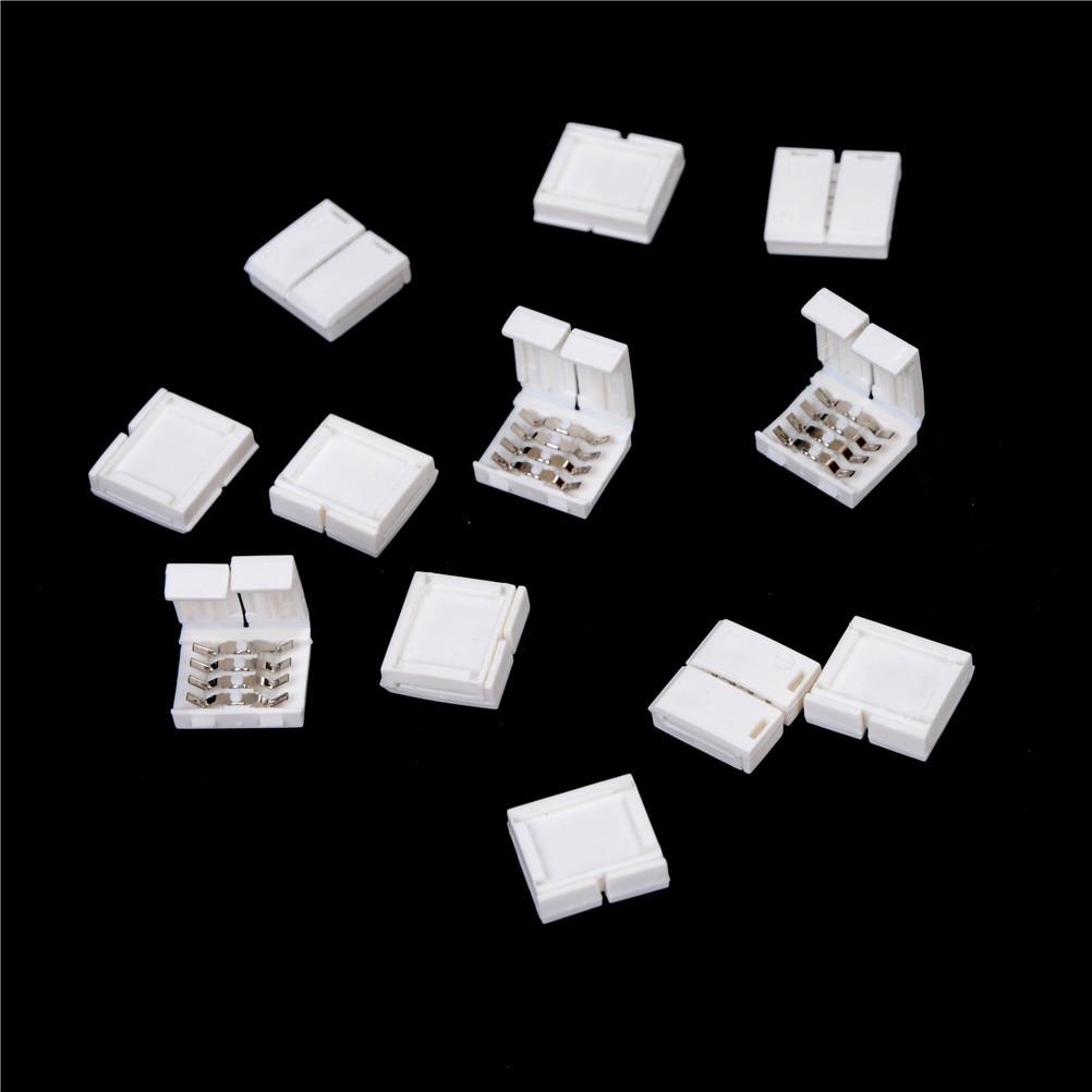 10 Uds sin soldadura 10mm 4 pines RGB conector para tira de LED adaptador para tira de LED 5050 RGB
